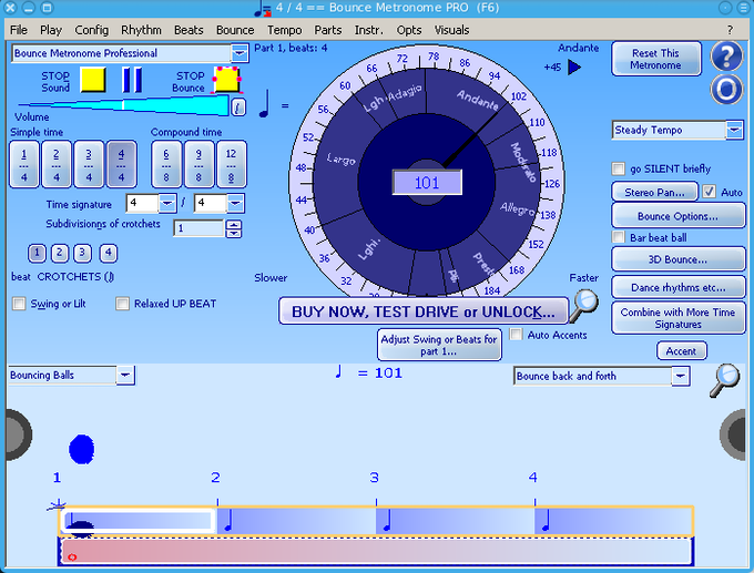 Bounce Metronome running on Linux