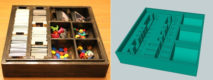 Custom wooden prototype box and early rendering of the production box insert, both with room for all of the base game and the expansion.