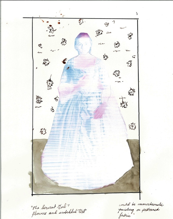 """Maidservant sketch, projected size 70 x 48"""""""