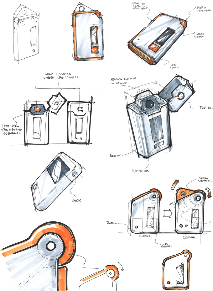 Some of the many design iterations