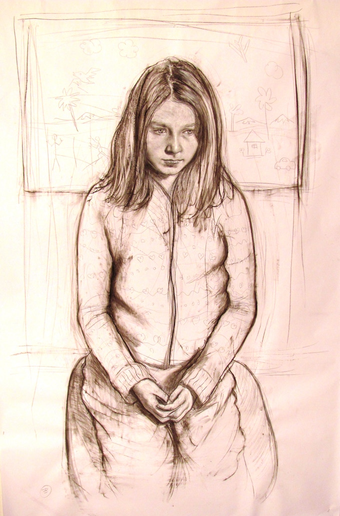 """""""Girl Sitting"""", charcoal & gouache on paper, 72 x 48"""""""