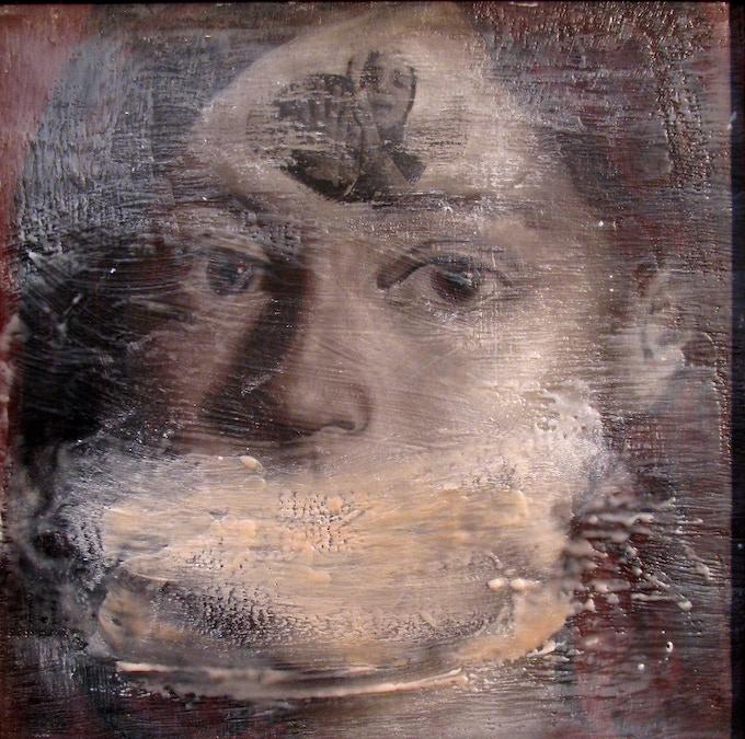 """Women of Baghdad"", oil & encaustic on canvas, 12 x 12"""