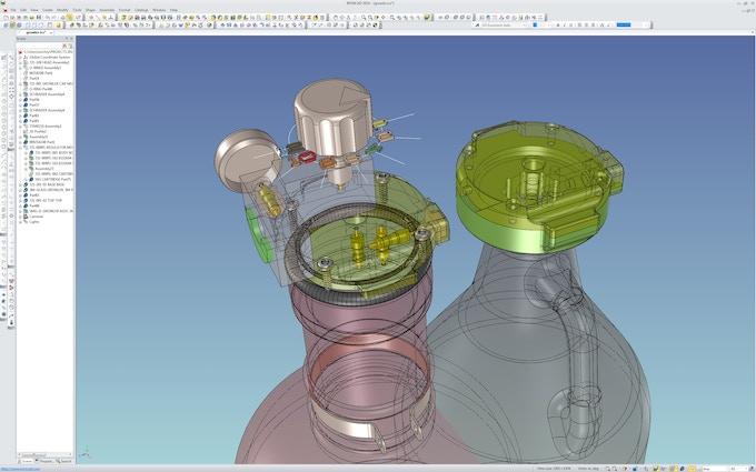 Snap shot of CAD development, using IronCAD 3D design software.