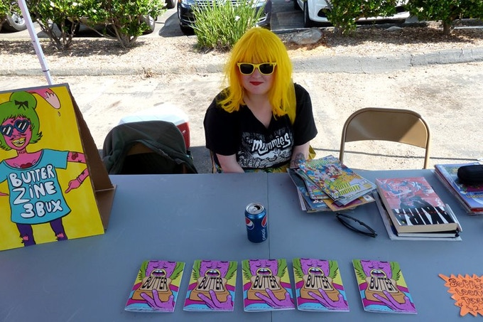 me at free comic book day with the last copies of BUTTER #1