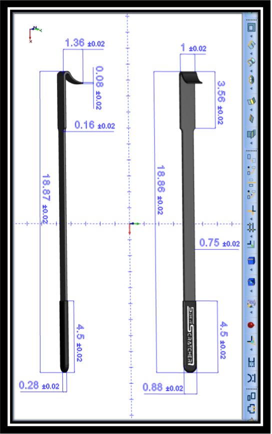 CAD rendering of the 5BerScratcher with dimensions