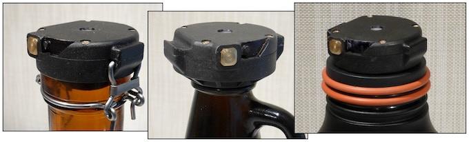 "Left: ""Muster Geschützt"" Swing-top style cap. Center: #38-400 Thread-style cap. Right: #63-400 Thread-style cap."