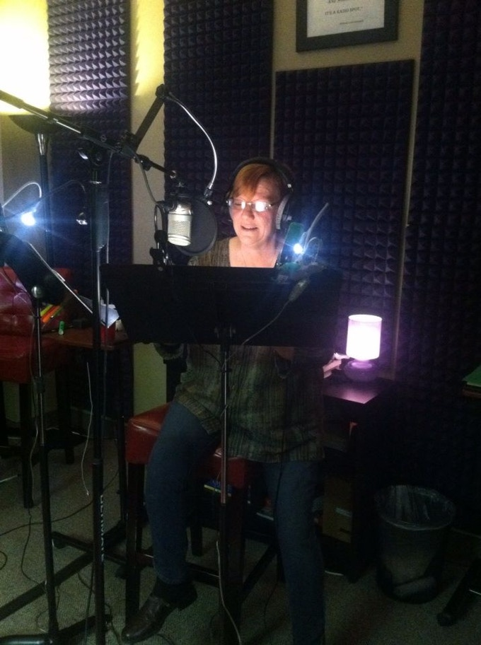 "This is me, narrating my friend's audio book last December - can't wait to record ""Giving Away the Farm!"""