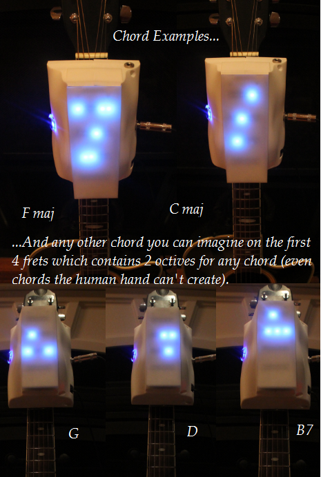 """Just some of the chord examples RoboTar can create.  You can actuate any chord on the first 4 frets of the guitar, also known as the """"open position""""  This gives you the flexibility of creating and playing any chord in any key."""