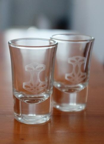 Pair of engraved Thor's Hammer shot glasses