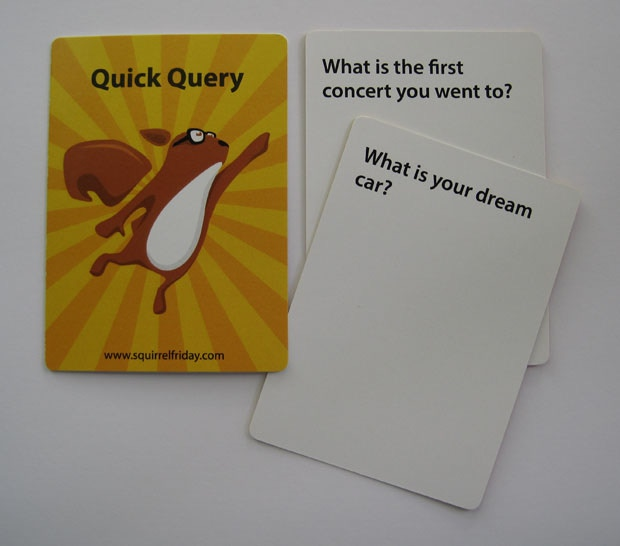 Sample Quick Query cards. They will look very similar to this, but each card back will also have either Deck 1 or Deck 2 printed on it.
