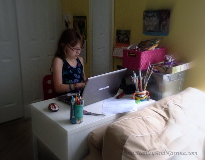 Felicia writing the script for her Kickstarter video.