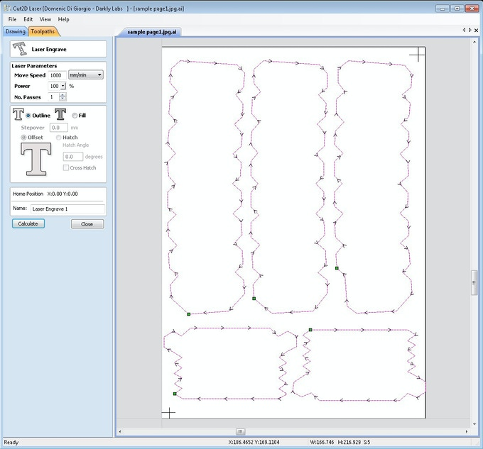 Toolpaths created in Vectric Cut2D Laser