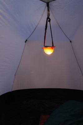 TorchGlo can be hung in a tent for the perfect amount of ambient lighting