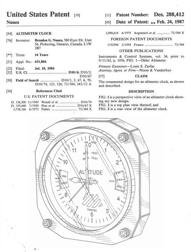 Altimeter Patent Granted to Brendon Nunes in 1987