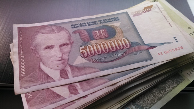 Real 5 Million Dinara note with Tesla's portrait
