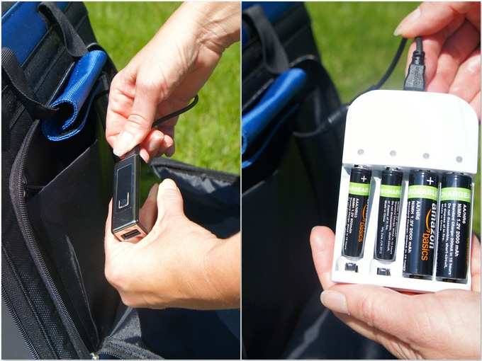Battery Stash Mode:  Power can be stashed away either in a powerful rechargeable battery pack or via the AA/AAA battery recharging tray