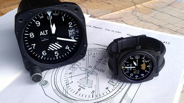 Altimeter Watch showing original Altimeter Clock Patent and actual aircraft Altimeter