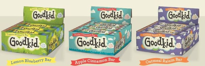Goodkid bar flavors: Lemon-Blueberry, Oatmeal Raisin, & Apple Cinnamon