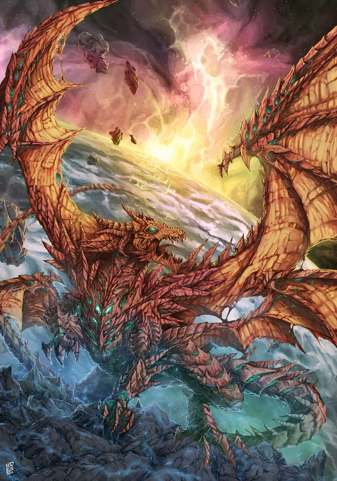 WhisperDeath is a mutant four-winged dragon and one of the most powerful creatures in the world. Her voracious mind has grown bored with the affairs of men, and she has taken to exploring the two great unknowns: the afterlife, and the stars.