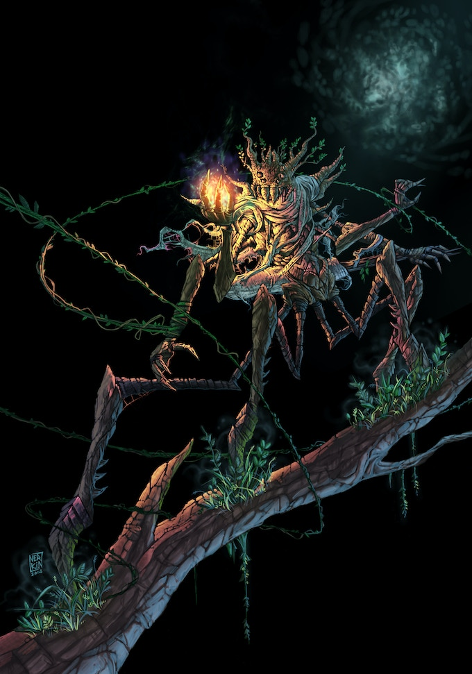 The Machandrian spider-people live deep in the Gloomwood. Their civilization is young and primitive, but they are powerful (and intensely technophobic) druids. They have also enslaved every ogre tribe in the world except one: the Imperial Breakers.