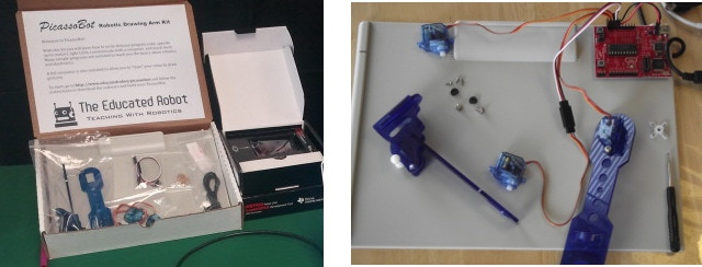 The PicassoBot Kit and a kit under construction.