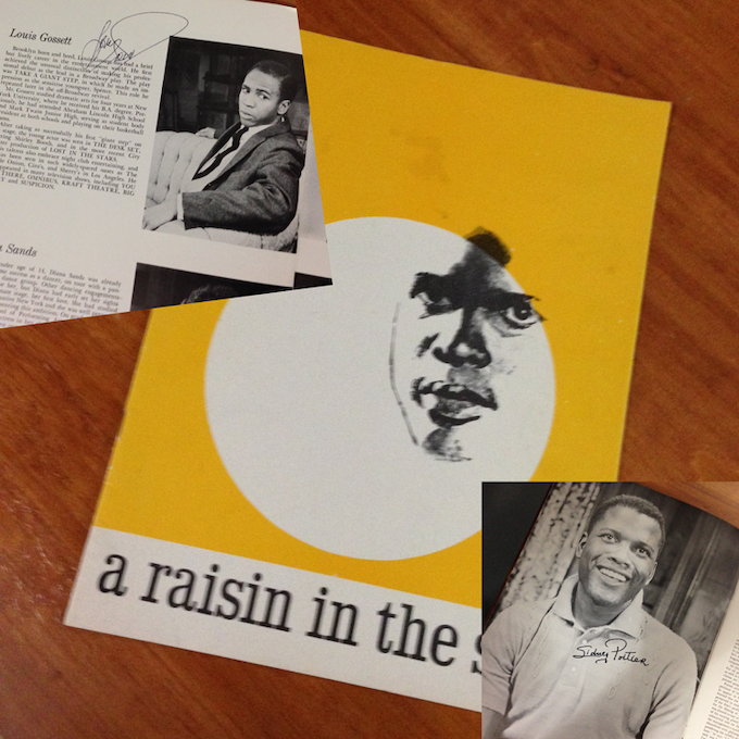 L to R: Souvenir program images—Louis Gossett Jr autograph, cover and Sidney Poitier autograph
