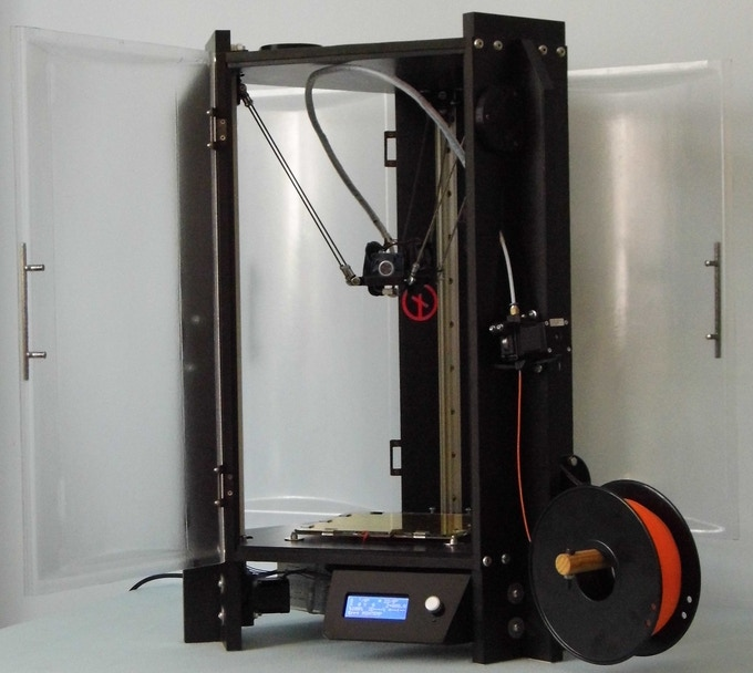 Shown is the (prototype) Optional Door Panel Set, fitted to a DeltaTrix 3D Printer.