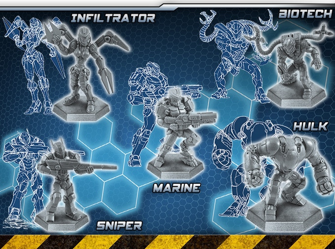Power Armor miniatures from Extinction Protocol