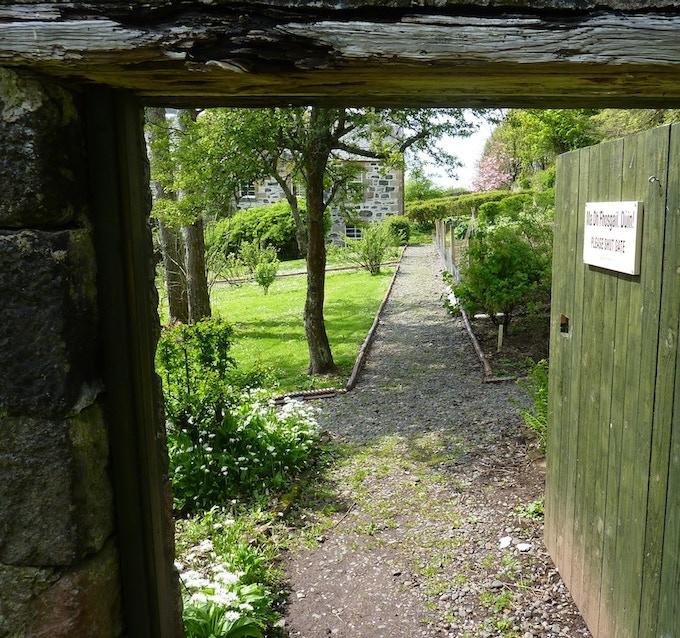 Gate into Canna House Garden.