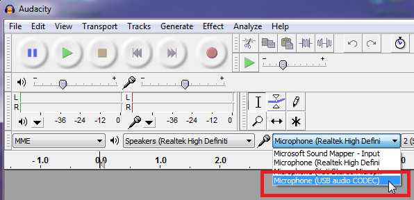 Select Mic in recording software