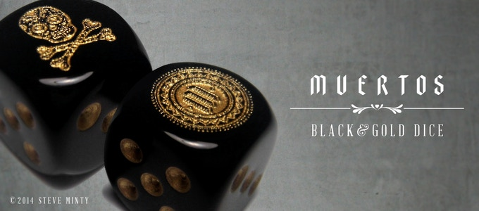 Now Available! Muertos Black & Gold Dice