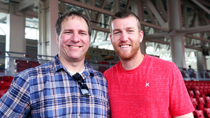 Director Jason Schmidt with Reds Third Baseman Todd Frazier