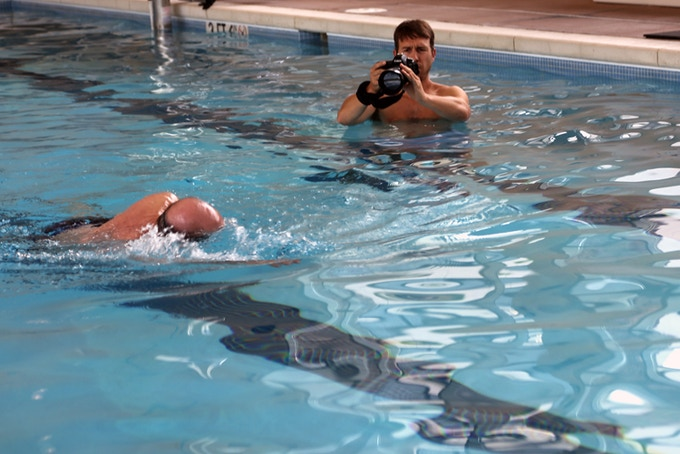 D.P. Sam Rider gets a close-up during a Heimlich swimming session