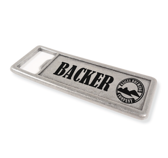 "BACKER BOTTLE OPENER - A heavy-weight metal alloy construction features an extra wide bottle opener mouth made from custom die cast zinc.  3 1/2"" x 1 3/8"""