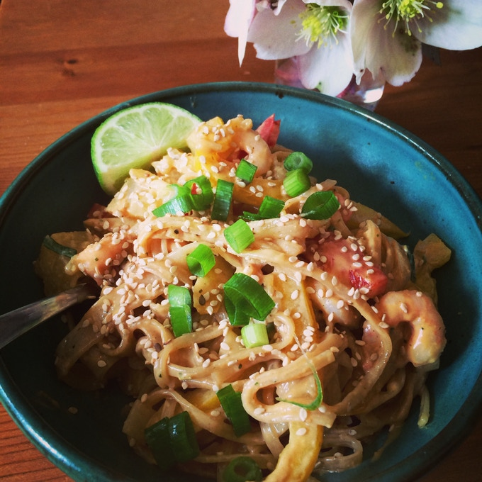 Pineapple Spicy Thai Peanut Butter Noodles with Shrimp!!