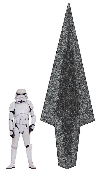 """As you can see, she'll be VERY BIG. Here side by side with a 5'11"""" stormtrooper."""