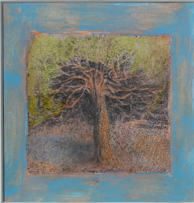 """They will all be different but this is an example of the mixed media artwork that backers will receive. It is 4.5"""" x 4.5"""""""