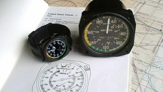 Airspeed Watch showing original Airspeed Thermometer Patent and actual Airspeed Indicator