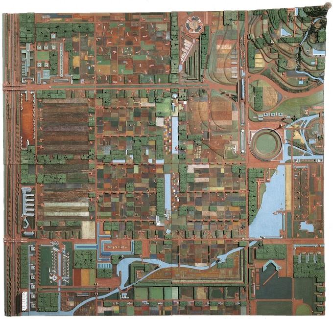 Broadacre City model by Frank Lloyd Wright, Courtesy of Frank Lloyd Wright foundation.