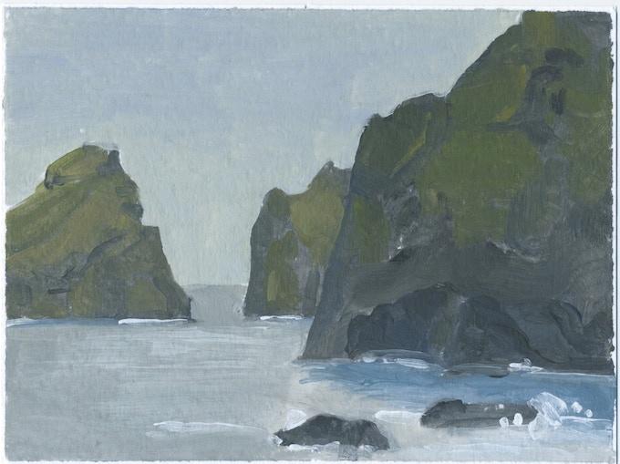 Westmann Islands, acrylic sketch 2013, 6 x 8