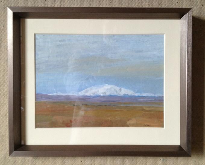 Hekla at dusk, acrylic sketch 2013, 6 x 8 in an 8 x 10 frame