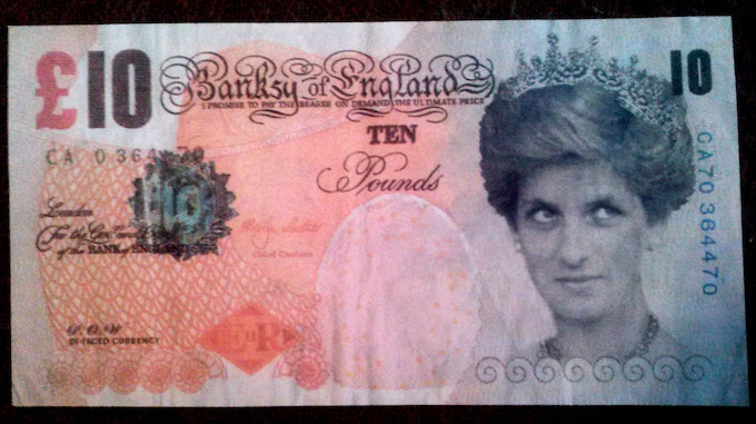 """First $2000 pledge gift - Banksy """"Ten Pound Note"""" - As seen in the movie """"Exit Through the Gift Shop""""."""
