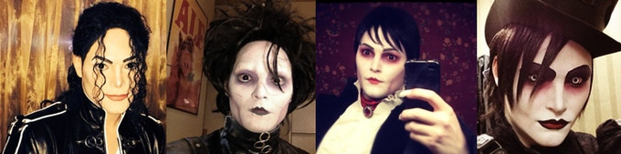 Pete as MJ, Edward Scissorhands, Barnabas Collins, and Ghoulmaster