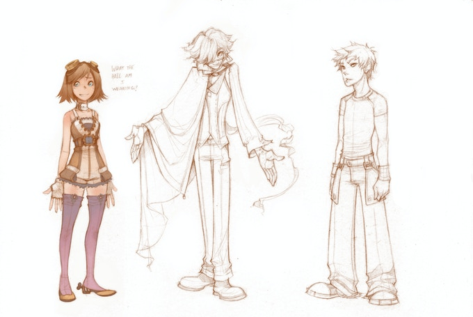 Allison's First Sketches of Veronica, Twist and Elliot