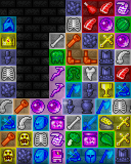 Match regions of color-coded resources: loot, gear, ruins, scrap, arcana, growth, flesh, and bone.
