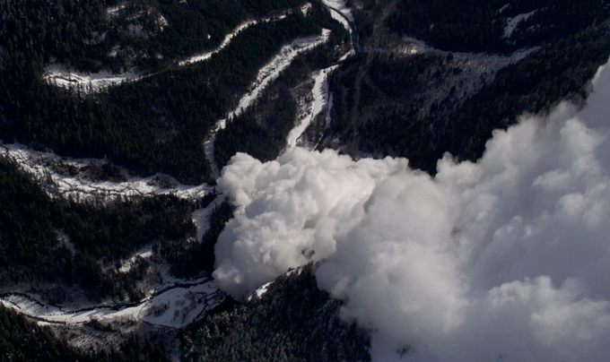 The crew captured massive avalanches in the coast mountains