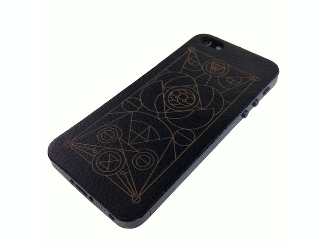 $40 Leather Phone Back Cover for Iphon5/5S; Galaxy S4/S5 - Designed by Artist Michael Boswell. Made by Artist Jamie Clawson.   Special adhesive simplifies the application process and leaves no residue and can be reapplied multiple times.