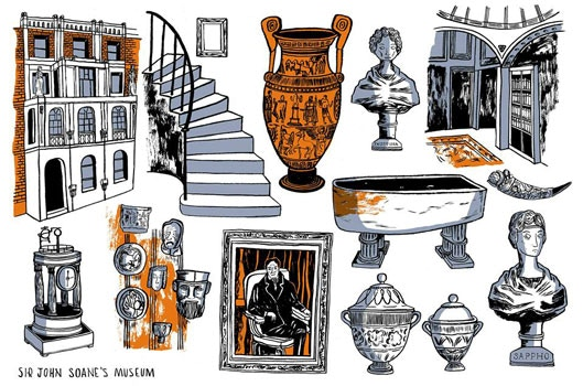 Isabelle Greenbergs' illustration from the Sir John Soane museum- an EXTRA BONUS to those pledging £50 or more.