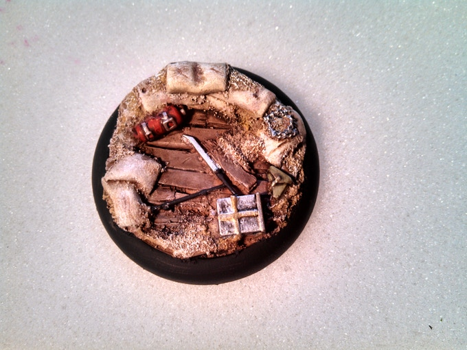 sample of the 50mm painted note the broken crowbar barbed wire ammo box & fire extinguisher