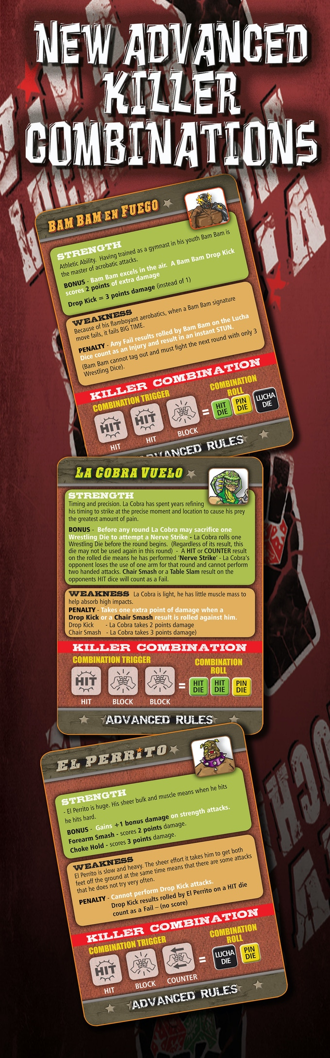 luchador mexican wrestling dice by game salute kickstarter individual strengths weaknesses and killer combinations